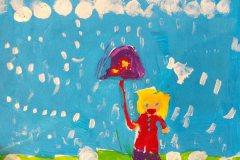 Alfeline i regnvejr. Tegnet af Caroline. Barnebarn af Poul og Mimi Jespersen
