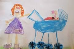 Mimi i barnevogn. Tegnet af Clara. Oldebarn af Frigge og Erling Køster